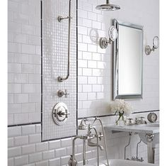 love the all white with black and chrome bath accents!