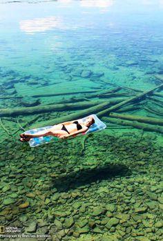 Crystal Clear Water of Flathead Lake, Montana, USA: