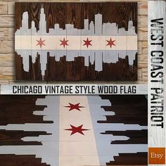 Chicago Skyline Vintage Style Wood Flag by WestCoastPatriot