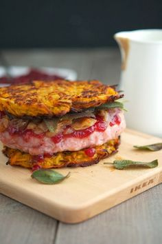 Sweet Potato Latke Turkey Burger (aka Thanksgivukkah Burger)
