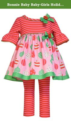 e88ada849 Bonnie Baby Baby-Girls Holiday Ornament Cotton Print Legging Set, Pink, 18  Months: Ornament printed knit playwear set with striped leggings