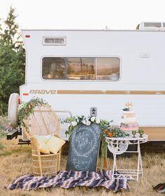 Vintage wanderlust elopement shoot with a winnebago
