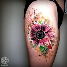 Cover up tattoos for women, shape tattoo, sunflower tattoos, colorful sun. Ink Tattoo, Gold Tattoo, Cover Tattoo, Body Art Tattoos, Sleeve Tattoos, Cool Tattoos, Hip Tattoos, Stomach Tattoos, Lotus Tattoo