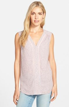 Pleione Print Sleeveless V-Neck Top available at #Nordstrom
