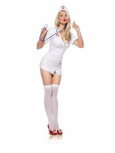 Nurse Sexy Costume for Halloween includes Zipper front dress, Low-cut Mini Dress, Headpiece and toy stethoscope. This Sexy Nurse Costume for Women comes in size Medium/Large. Nurse Halloween Costume, Sexy Nurse Costume, Halloween 2013, Sexy Outfits, Trendy Outfits, Fashion Outfits, Girl Costumes, Adult Costumes, Costume Ideas