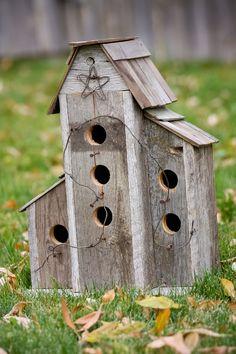 Barnwood Birdhouse Deluxe Duplex. $65.00, via Etsy.