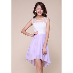 Elegant Scoop Neck Mesh Splicing High-Low Hem Chiffon Women's Dress, AS THE PICTURE, S in Dresses 2013 | DressLily.com