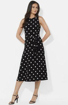 Lauren Ralph Lauren Polka Dot Jersey Fit & Flare Dress   Nordstrom
