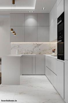 Luxury Kitchen Design, Kitchen Room Design, Home Decor Kitchen, Interior Design Kitchen, Room Kitchen, Kitchen Ideas, Small Modern Kitchens, Modern Grey Kitchen, Minimalist Kitchen