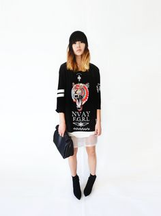 I'm a superficial, systematic, music television addict (by Alyssa Lau) Choies Shirt, Choies Skirt, Choies Ankle Boots Skirts With Boots, Shirt Skirt, Great T Shirts, Shirt Shop, Half Sleeves, Casual Looks, Long Sleeve Shirts, Personal Style, Street Style