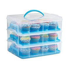 £14.99 No good for standard size cupcakes Three Tier BPA-free Cupcake Storage Container. Each layer holds 12 cupcakes, or remove tray to store a tier cake or large cake. Rotate for flat surface to hold cakes on each layer. #3StarDeal, #CookingDining, #Home, #HomeGarden, #Under25, #VonShef  #product