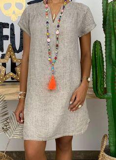 Simple Dresses, Casual Dresses, Short Dresses, Fashion Dresses, Summer Dresses, Short Mini Dress, White Mini Dress, Gray Dress, Knee Length Dresses