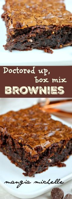 Doctored up box mix brownies is part of Best snack mix recipes Simple - This simple doctored up box mix brownie recipe is the best brownie recipe ever! They will keep everyone coming back for more ~ www mangiamichelle com Boxed Brownie Recipes, Best Brownie Recipe, Cake Mix Recipes, Baking Recipes, Dessert Recipes, Brownie Mix Desserts, Best Brownie Mix, Bar Recipes, Recipies