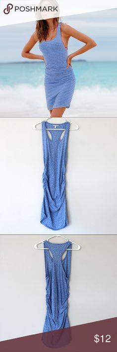 """CLOSET CLOSING! NWOT VS Ruched Racerback Cover-Up CLOSET CLOSING 4/28/2017  BUY OR MAKE AN OFFER!  🔷Victoria's Secret Racerback Coverup with Ruching 🔹Color Blue 🔹Size M 🔹50% polyester, 38 % Cotton 12% Viscose  Received as Gift. Never worn. ⚡️NO STRIPES! ⚡️picture is just for how it fits.   From VS: """"Slim fit, Semi sheer, Textured handfeel, Supersoft & stretchy, 17""""from waist; hits above knee, Ruched sides, Curved hem, Machine wash, Imported polyester/cotton/viscose"""" Victoria's Secret…"""