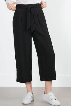 Solid Color Tie-Up Elastic Waist Pants
