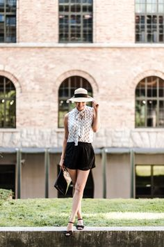 Black and white outfit summer lace hat