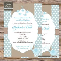 Boys Baby Shower invitation Blue & Taupe Elephant - digital file, printable. $13.00, via Etsy.