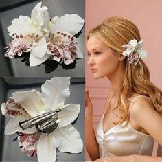 Di alta Qualità di Vendita Calda Nuziale Fiore di Orchidea Stampa Leopardo Capelli Spilla Clip Pin Barrette ADIZ