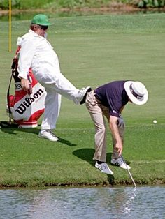 Golf Masters in Augusta. Wonder if they all want to do this? #golfinggonewrong