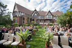 Formal seating for an outdoor wedding ceremony
