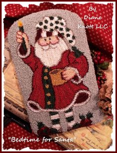 Bedtime for Santa Punch Needle Pattern Download by Diane Knott LLC by DianeKnottLLC on Etsy Wool Applique Patterns, Punch Needle Patterns, Embroidery Patterns, Rug Patterns, Pattern Ideas, Cross Stitching, Cross Stitch Embroidery, Wool Embroidery, Christmas Embroidery