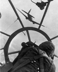 The gunners view from a Heinkel He 111.