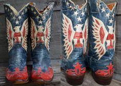 Vintage 1940's Custom American Flag Stewart Romero Rockabilly Leather Western Cowboy Distressed Boots
