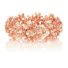 OASIS Flower Stretch Bracelet ($18) ❤ liked on Polyvore featuring jewelry, bracelets, accessories, pink, crystal, flower bangle, stretch jewelry, bracelet bangle, bracelet jewelry and stretchy bracelet
