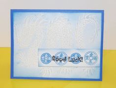 handmade card from The Eagles Nest ... blue card ... Asian theme ... huge stencil paste dragon ..