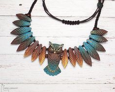 Owl Necklace Animal Totem Leafy Wings Turquoise Feathers Autumn Colors - Element is made to order <<< pictures show only articles – I can create it for you :] This owl ne - Owl Jewelry, Wooden Jewelry, Jewelry Crafts, Jewelery, Jewelry Necklaces, Clay Beads, Polymer Clay Jewelry, Owl Necklace, Beaded Necklace