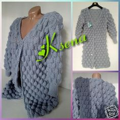 Knitted cardigan women Oversized Chunky Sweater Hand knitted