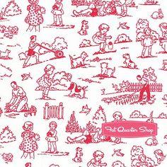 Pam Kitty Garden Red on White Garden Toile Yardage <br/>SKU# LH14015-ROW