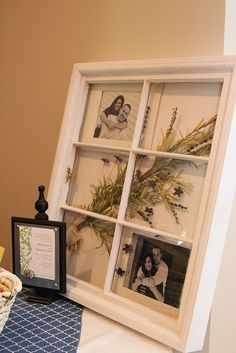 Turn an old window into a shadowbox with engagement photos dried flowers at a wedding shower by Unskinny Boppy