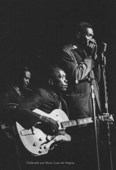 Eddie Taylor, John Lee Hooker, Big Walter Horton - American Folk Blues Festival Show at Hammersmith Odeon, London, 1968. Photo by Valerie Wilmer.