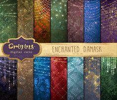 Enchanted Damask Backgrounds by Origins Digital Curio on @creativemarket