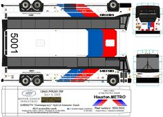 Houston Metro paper model bus transit image by METRObusfan. DIY paper craft