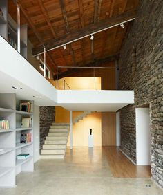 wood + stone interior