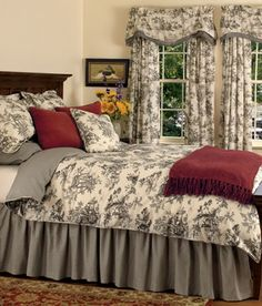 Toile Bedding i have this in The Green sage so nice but it is a duvet cover for my comporter very Heavy but warm! Shabby Chic Bedrooms, Guest Bedrooms, Bedroom Sets, Dream Bedroom, Home Bedroom, Bedroom Decor, Toile Curtains, Toile Bedding, Country Curtains