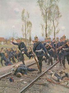 Die 7. Kompagnie des Kaiser-Alexander– Garde-Grenadier-Regimentes Nr. 1 am 30. Oktober 1870 bei Le Bourget.