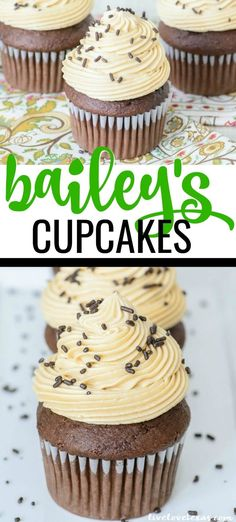 Forget plain old cupcakes. Take your dessert game to the next level with this Chocolate Bailey's Cupcakes recipe with Bailey's Irish Cream Buttercream Frosting. Chocolate Baileys, Chocolate Desserts, Chocolate Cream, Homemade Chocolate Cupcakes, Homemade Buttercream Frosting, Frosting Recipes, Cake Mix Cupcakes, Cupcake Cakes, Bailey Cupcakes