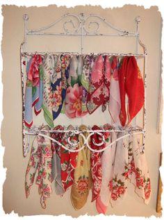 vintage hankies on display  find vintage hankies here: http://www.nanaluluslinensandhandkerchiefs.com/Ladies_New_and_Vintage_Handkerchiefs_Hankies_s/1921.htm