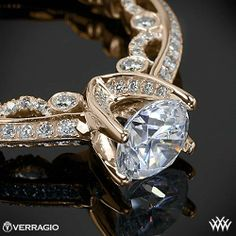 Verragio Pave Knife-Edge Diamond Engagement Ring from the Verragio Paradiso Collection
