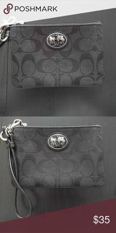 Coach small wristlet Black coach wristlet with light coach sign Coach Bags Clutches & Wristlets