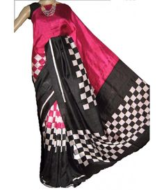 Black Handloom Block Printed Murshidabad Silk Saree