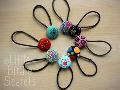 Little Birdie Secrets: button hair bands / pony tail holders