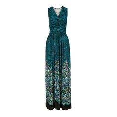 Border Print Maxi Dress Rickis ($80) ❤ liked on Polyvore featuring dresses, blue dress, teal blue dresses, teal green dresses, woven dress and blue maxi dress