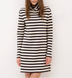 Casual Turtle Neck Stripe Print Cotton Long Sleeve Women's DressCasual Dresses | RoseGal.com