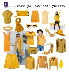 """Warm yellow for warm color types/ warm geel voor warme kleurtypes."" By Margriet Roorda-Faber. Warm color type should choose these types of warm/ golden yellows. Warme kleurtypes kiezen het beste voor warme (gouden) geeltinten."