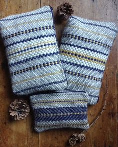 Our fabric is handwoven using Welsh and British wool. We're currently using a mix of Welsh yarn for the main base pattern of cream and grey - sourced locally from a Ceredigion farmer. Cool Tapestries, Tapestry, Navajo Weaving, Hand Weaving, Textiles, Weaving Patterns, Basket Weaving, Sewing Projects, Throw Pillows