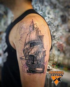 Arm Tattoo, Skull, Ship, Tattoos, Arm Tattoos, Arms, Tatuajes, Tattoo, Ships